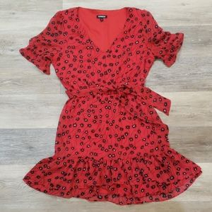 Express Red Dress with black and white flowers